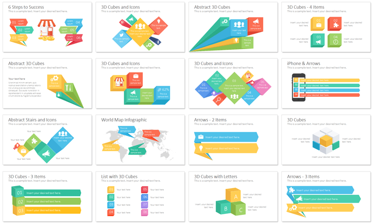 Infographics with Arrows and Cubes - PresentationDeck.com