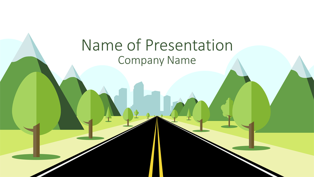 road to city powerpoint template - presentationdeck, Modern powerpoint