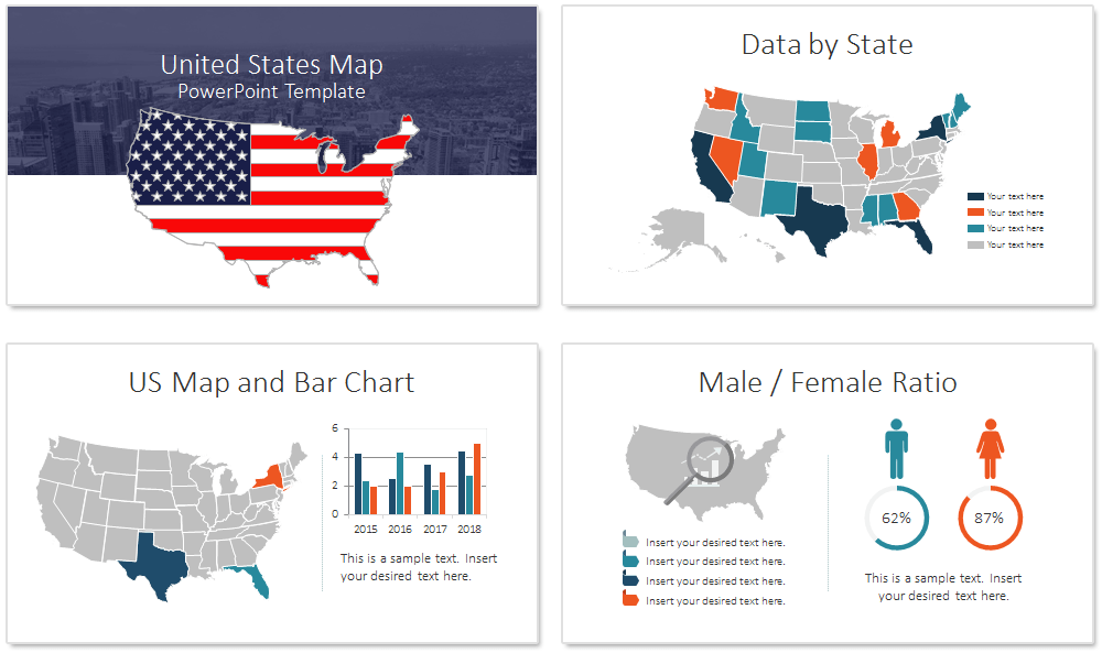 US Map PowerPoint Template PresentationDeckcom - Us map powerpoint template