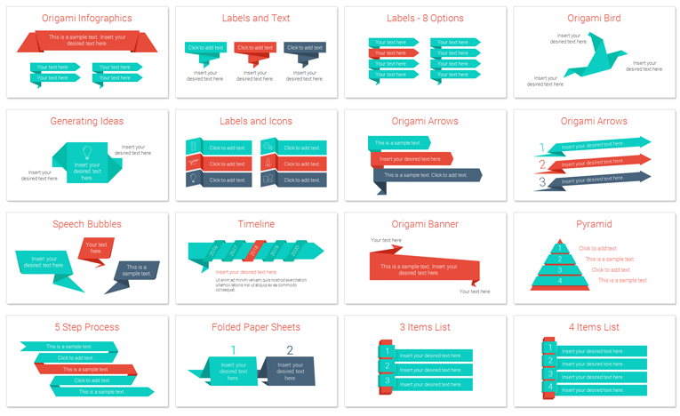 origami infographics for powerpoint presentationdeck com
